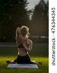 flexible woman practicing yoga...   Shutterstock . vector #476344345