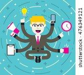 flat design multitasking blond...   Shutterstock .eps vector #476349121