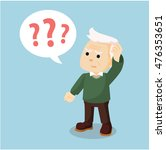 old man confused holding head | Shutterstock .eps vector #476353651