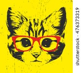 Portrait Of Cat With Glasses....