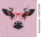 Portrait Of Cow With Glasses....
