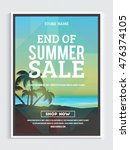 end of summer sale poster ... | Shutterstock .eps vector #476374105