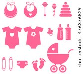 set of baby girl elements icons | Shutterstock .eps vector #476376829
