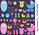 baby girl and boy elements | Shutterstock .eps vector #476376835