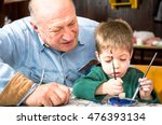 grandson and grandfather... | Shutterstock . vector #476393134