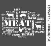meat. text set of butcher | Shutterstock .eps vector #476393215