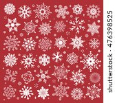 white snowflakes icon on red... | Shutterstock .eps vector #476398525