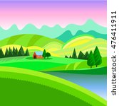 rural landscape with the houses ... | Shutterstock .eps vector #476411911