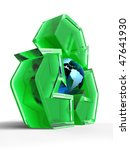 Green translucent recycling symbol with the Earth globe in the centre. 3D illustration isolated on white background. - stock photo