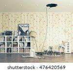 broken ceiling in the room and... | Shutterstock . vector #476420569