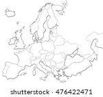 blank map of europe isolated on ... | Shutterstock . vector #476422471