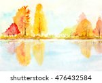 Autumn Trees With Reflection In ...