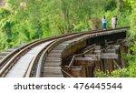 thai train on river kwai bridge ... | Shutterstock . vector #476445544