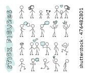 hand drawn stick figures on... | Shutterstock .eps vector #476482801