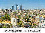Small photo of Cityscape of Amman downtown with skyscrapers at background - Jordan