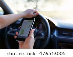 woman in the car and holding... | Shutterstock . vector #476516005