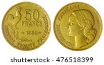 Small photo of Aluminum Bronze 50 francs 1953 coin isolated on white background, France