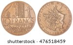 Small photo of Aluminum Bronze 10 francs 1980 coin isolated on white background, France