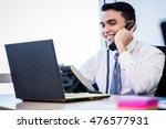 asian salesman in office making ... | Shutterstock . vector #476577931