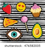 cute set of cartoon patch... | Shutterstock .eps vector #476582035