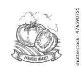 farmers market tomato badge....   Shutterstock .eps vector #476590735