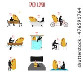 lover taco set. love to mexican ... | Shutterstock .eps vector #476591764