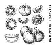 tomato vector drawing set.... | Shutterstock .eps vector #476598541