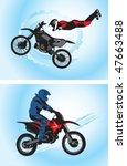 jumping motorcyclist   vector...   Shutterstock . vector #47663488