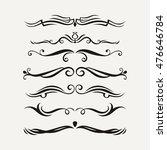 set of elegant curls and swirls....   Shutterstock . vector #476646784
