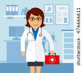 medical office. female doctor... | Shutterstock .eps vector #476666611