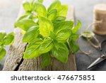 Fresh Green Basil Leaves On A...