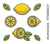 retro style lemons  line icon... | Shutterstock .eps vector #476686615