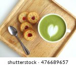 a cup of matcha latte art with... | Shutterstock . vector #476689657