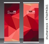 abstract red roll up banner... | Shutterstock .eps vector #476694361