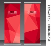 abstract red roll up banner... | Shutterstock .eps vector #476694385