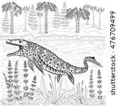 mosasaurs   prehistoric reptile ... | Shutterstock .eps vector #476709499