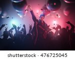 dj or singer has hand up at... | Shutterstock . vector #476725045