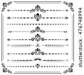 vintage set of decorative black ... | Shutterstock .eps vector #476748994