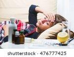 cute girl caught cold. sick... | Shutterstock . vector #476777425
