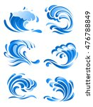 blue curling ocean waves icons... | Shutterstock . vector #476788849