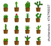 set of cactus in pots  vector... | Shutterstock .eps vector #476790037