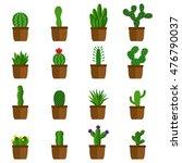set of cactus in pots  vector... | Shutterstock .eps vector #476790037