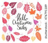 hello autumn sales set. leaves... | Shutterstock .eps vector #476791189