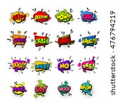 Comic collection colored sound chat text effects pop art vector style. Set bubble speech word, cartoon letter expression sounds illustration. Lettering funny phrase. Comics book background template | Shutterstock vector #476794219