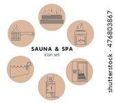 bath and sauna   set of line... | Shutterstock .eps vector #476803867