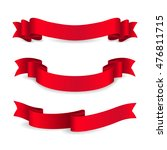 set of shiny red ribbons.... | Shutterstock .eps vector #476811715