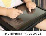 little girl hand using... | Shutterstock . vector #476819725