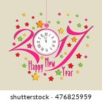happy new year 2017 clock and... | Shutterstock . vector #476825959