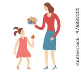 woman and her child eating... | Shutterstock .eps vector #476832205