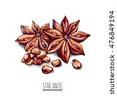 star anise. spice isolated on... | Shutterstock . vector #476849194